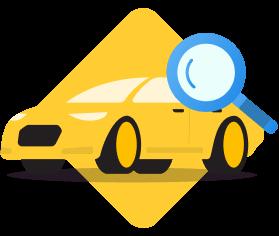Mobil kuning dengan kaca pembesar
