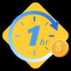 Penghitung waktu satu jam dengan koin dolar