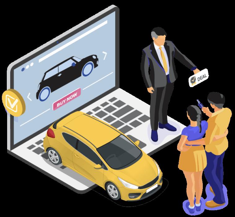 Aktivitas penawaran di laptop dengan melakukan pembayaran dan penyerahan kunci mobil carome dengan penjual